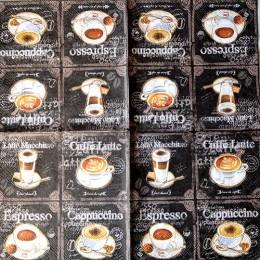 Салфетка для декупажа Espresso Cappuccino на черном 33х33 см