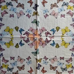 Салфетка для декупажа Бабочки мелкие 33х33 см