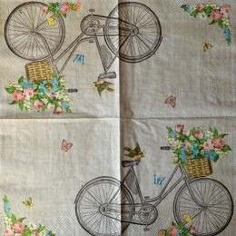 Салфетка для декупажа Велосипед с букетом 33х33 см