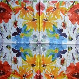 Салфетка для декупажа Цветы акварель 33х33 см