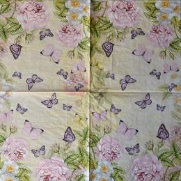 Салфетка для декупажа Розовые розы и бабочки 33х33 см