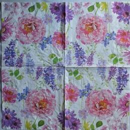 Салфетка для декупажа Садовые цветы 33х33 см
