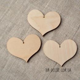 Сердечко деревянное заготовка 60*70 мм 1 шт.