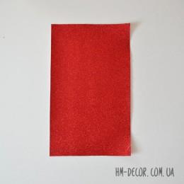 Экокожа глиттер мелкий красный 20*30 см