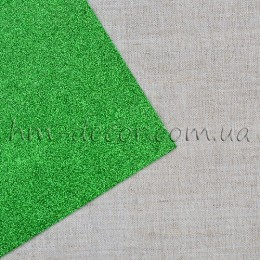 Фоамиран глиттер зеленый на клеевой основе 20*30 см
