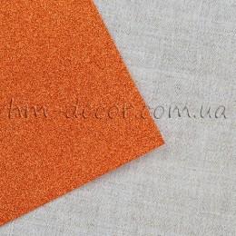 Фоамиран глиттер оранжевый 20*30 см