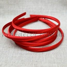 Ободок пластиковый в красной атласной ленте 1 см