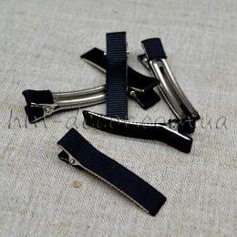 Заколка для волос металлическая в черной репсовой ленте 5,5 см