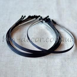 Ободок металлический в черной атласной ленте 5 мм