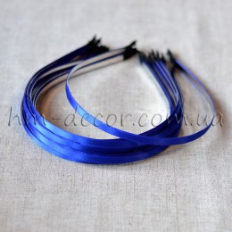 Ободок металлический в синей атласной ленте 5 мм