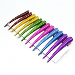 Заколка для волос металлическая цветная с перламутром 6 см