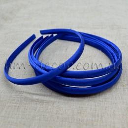 Ободок пластиковый в синей атласной ленте 1 см