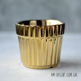 Кашпо керамическое золото глянец 8*9 см