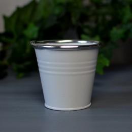 Кашпо металлическое белое глянцевое 8 см