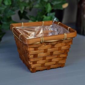 Кашпо бамбуковое коричневое 10*14*14 см
