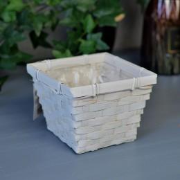 Кашпо бамбуковое белое 10*14*14 см