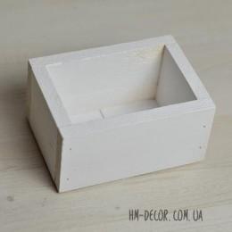 Кашпо деревянное белое без ручки 10*14 см
