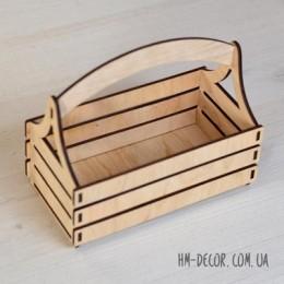 Кашпо деревянное с ручкой 19*10 см