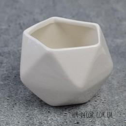 Кашпо керамическое белое треугольник 7*8 см