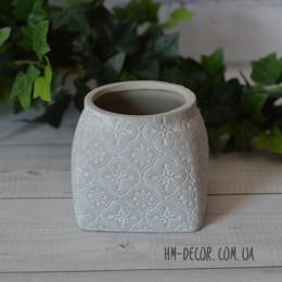 Кашпо керамическое Барокко бежевое 9*8 см