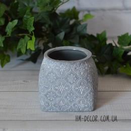 Кашпо керамическое Барокко серое 9*8 см