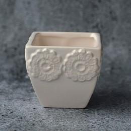 Кашпо керамическое белое 001 узор 65х65 мм