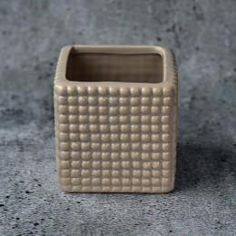 Кашпо керамическое квадратное бежевое  75х75 мм