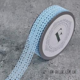 Лента кружевная голубая 2,5 см 1м