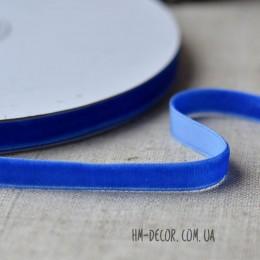 Лента бархатная синяя 1 см 1 м