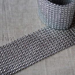 Лента бриллиантовая серебро 6 cм 0,5 м