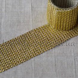 Лента бриллиантовая золото 6 см 0,5 м