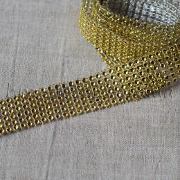 Лента бриллиантовая золото 3 см 1 м