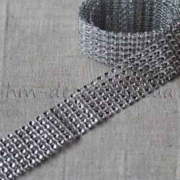 Лента бриллиантовая серебро 3 cм 1 м