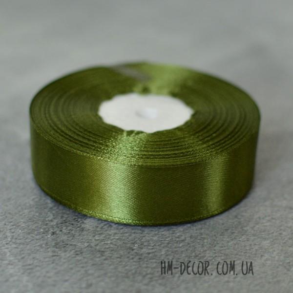 Лента атласная 2,5 см оливковая 1 м
