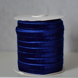 Лента бархатная  1 см синяя 1 м