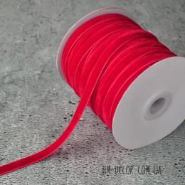 Лента бархатная красная 1 см 1 м