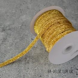 Лента бархатная золото 1 см 1 м