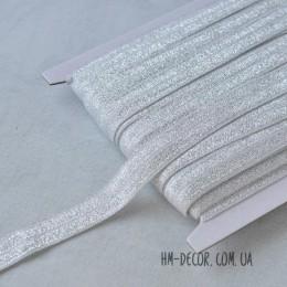 Бейка стрейч серебро с блестками 1,5 см 1 м
