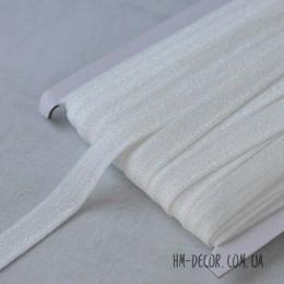 Бейка стрейч белая с блестками 1,5 см 1 м
