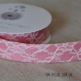 Лента гипюр на атласе розовая 25 мм 1 м