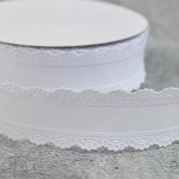 Лента коттон белая с кружевным краем 3,5 см 1 м