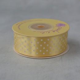 Лента атласная горошек ванильная 2,5 см 1 м