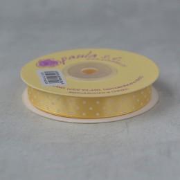 Лента атласная горошек ванильная 1,2 см 1 м