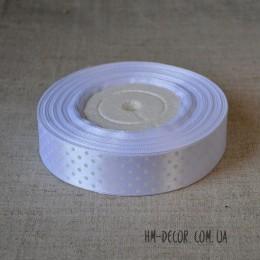Лента атласная горошек белая 2,5 см 1 м