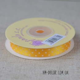 Лента атласная горошек желтая 1,2 см 1 м