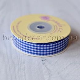 Лента клетка 1,5 см синяя 1 м