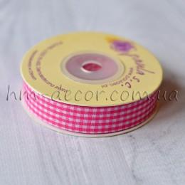 Лента клетка 1,5 см розовая 1 м