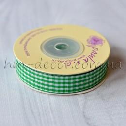 Лента клетка 1,5 см зеленая 1 м