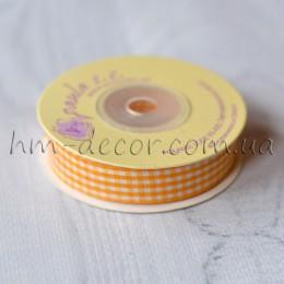 Лента клетка 1,5 см желтая 1 м