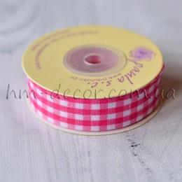 Лента клетка 2 см розовая 1 м